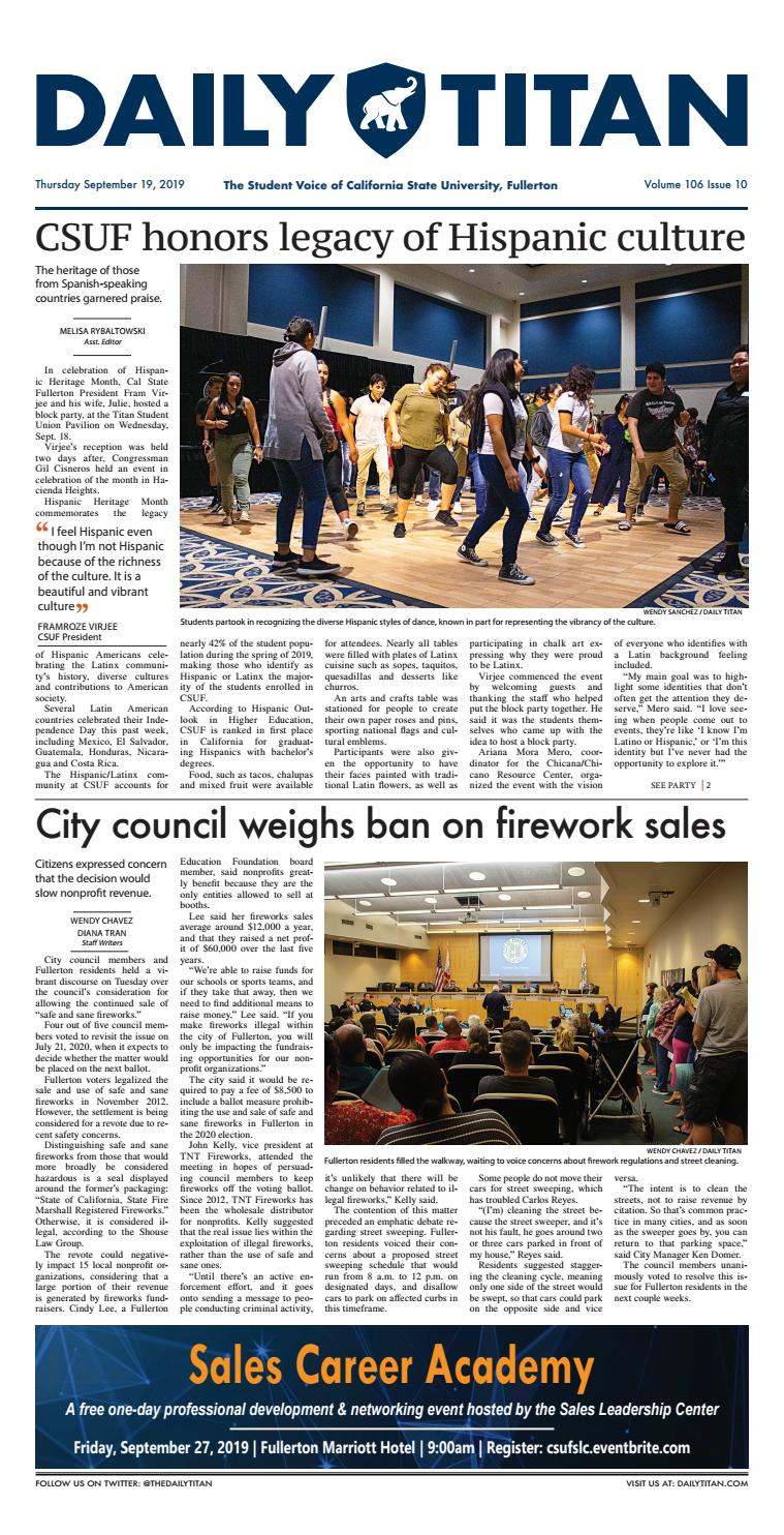 Csuf Asi Spring Concert 2020.Thursday September 19 2019 By Daily Titan Issuu