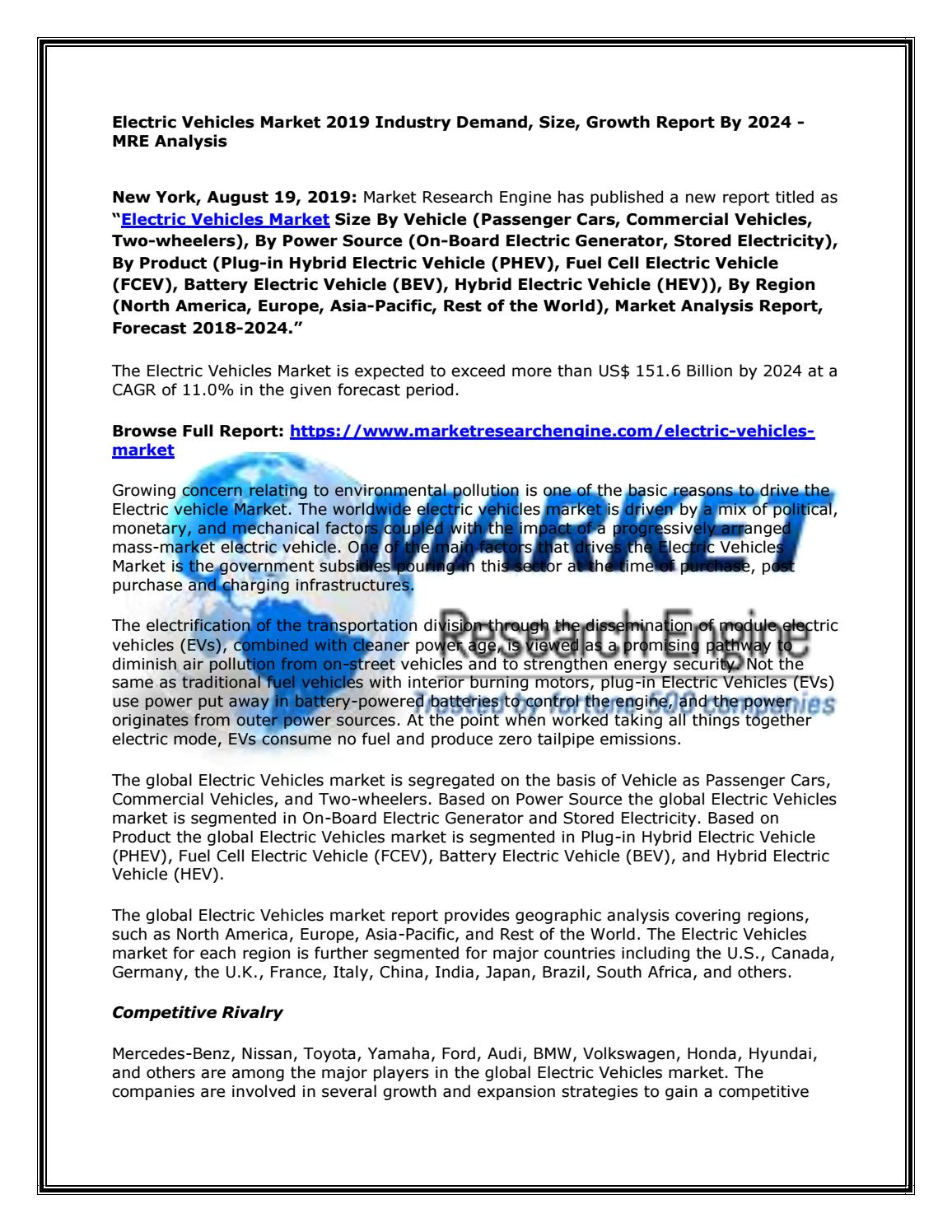 Electric Vehicles Market 2019 Industry Demand Size Growth Report By 2024 Mre Analysis By Serena Thomson Issuu