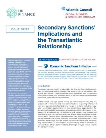 Secondary sanctions' implications and the transatlantic