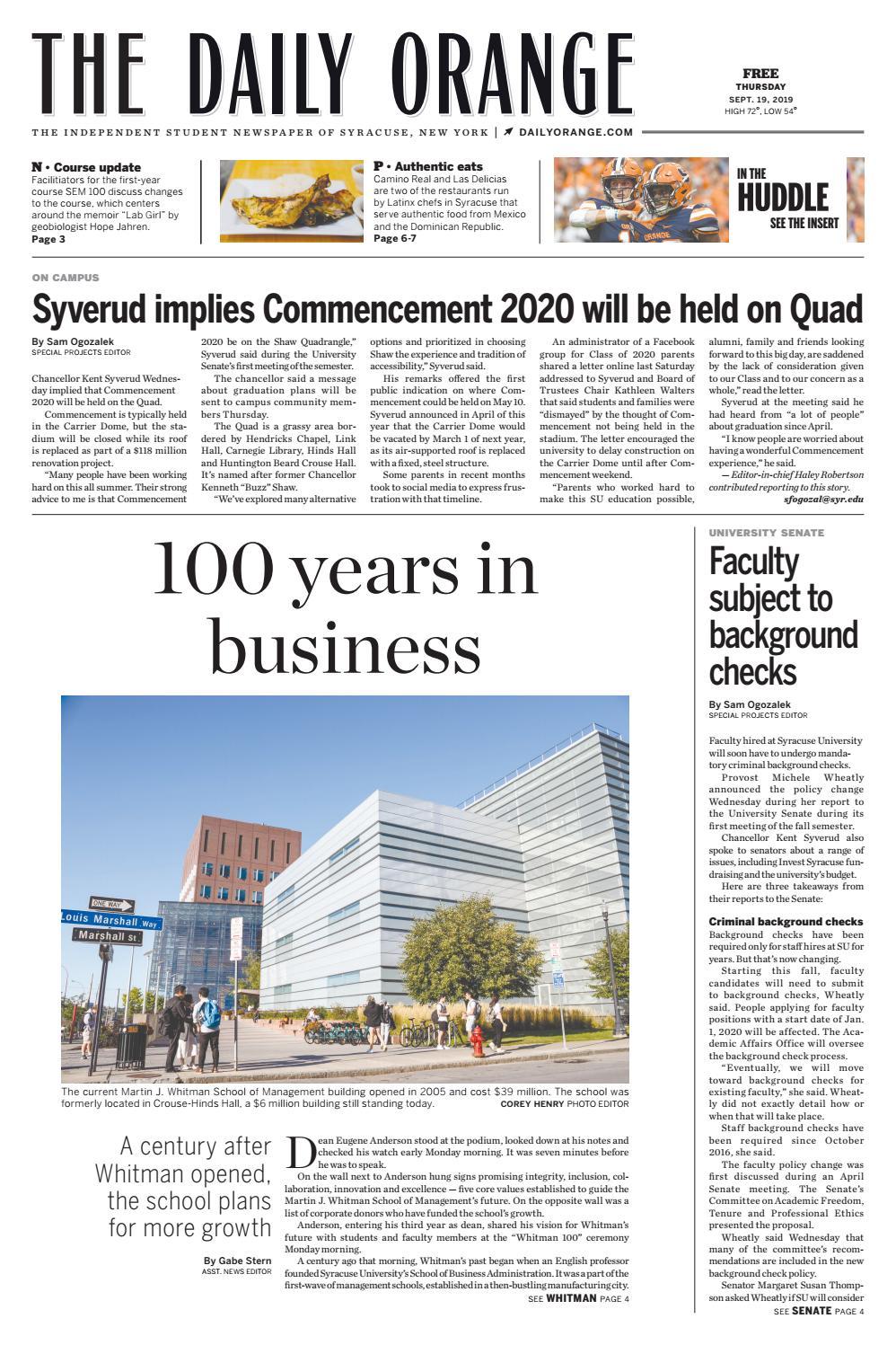 Syracuse Graduation 2020.September 19 2019 By The Daily Orange Issuu