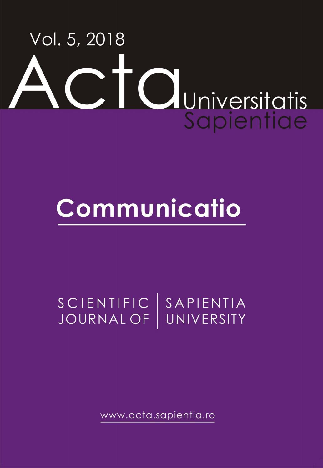 Communicatio Vol 5 2018 By Acta Universitatis Sapientiae Issuu