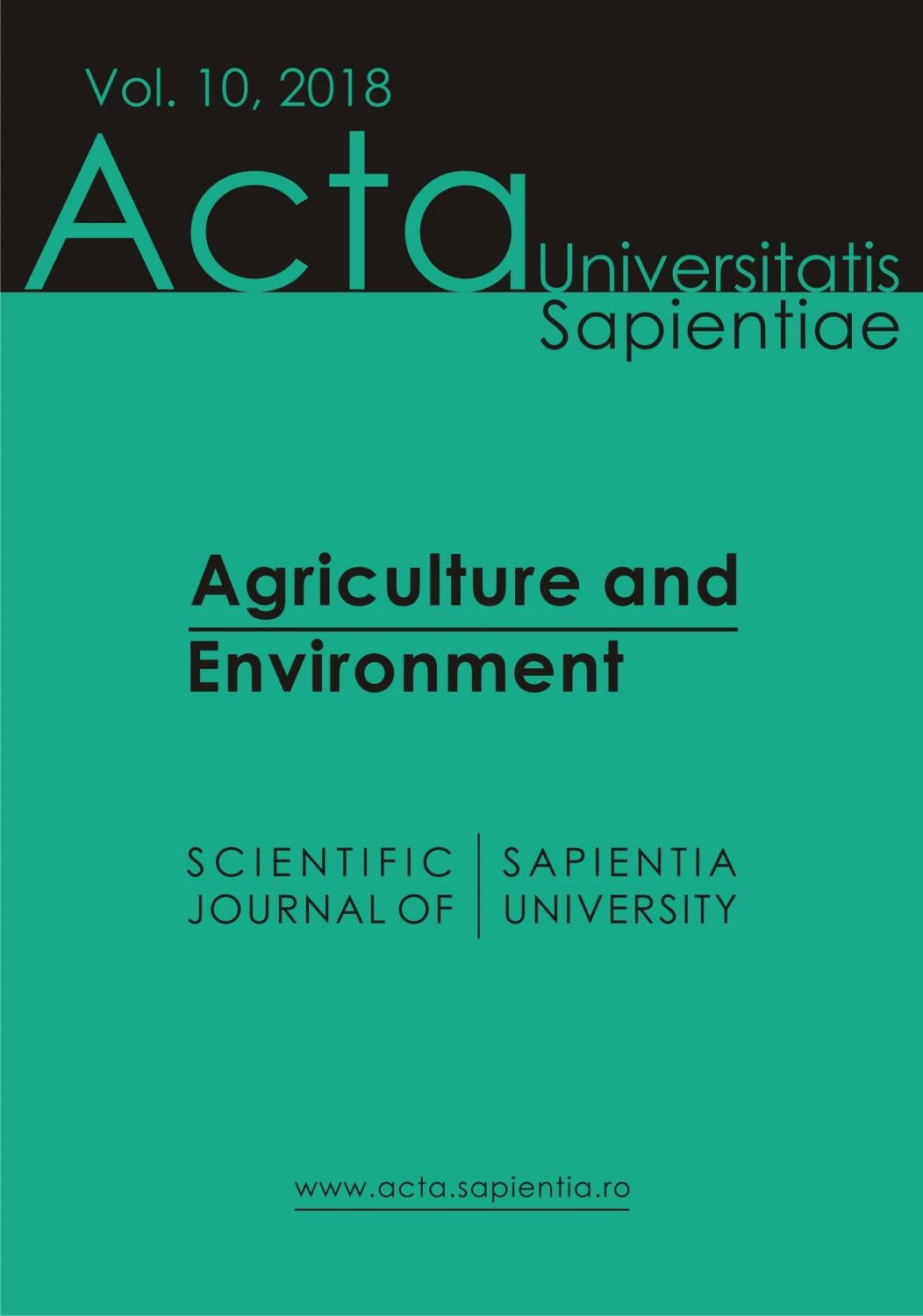 Agriculture And Environment Vol 10 2018 By Acta Universitatis