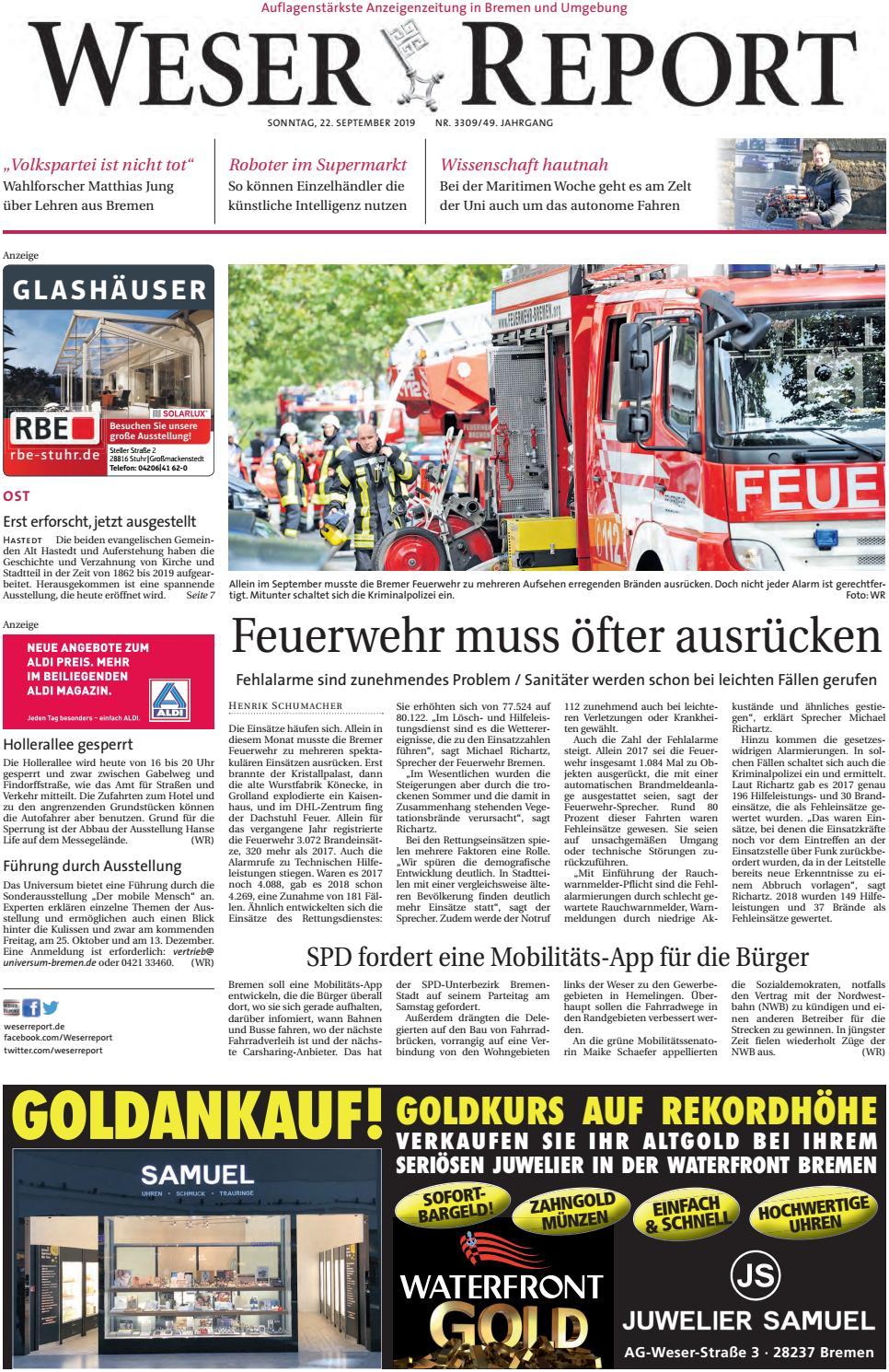 Weser Report Ost vom 22.09.2019 by KPS Verlagsgesellschaft