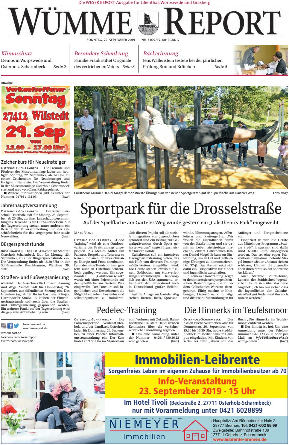 Wümme Report vom 22.09.2019 by KPS Verlagsgesellschaft mbH