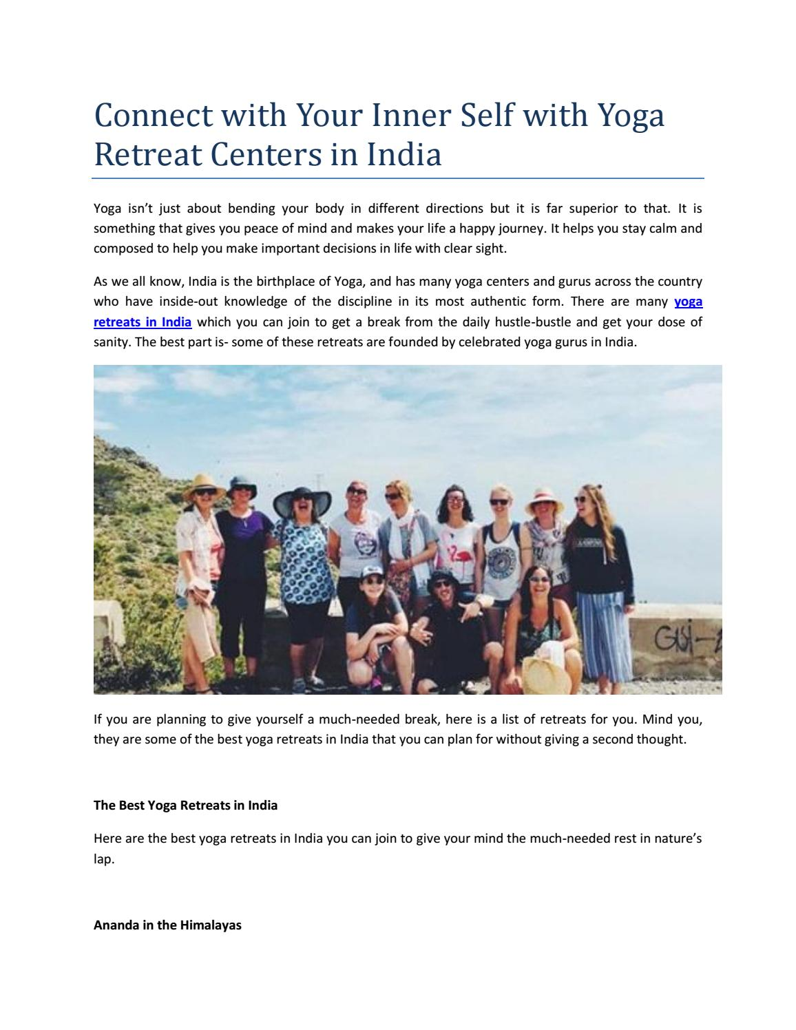 Connect With Your Inner Self With Yoga Retreat Centers In India By Complete Unity Yoga Issuu
