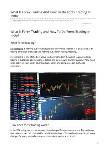 What Is Forex Trading And How To Do