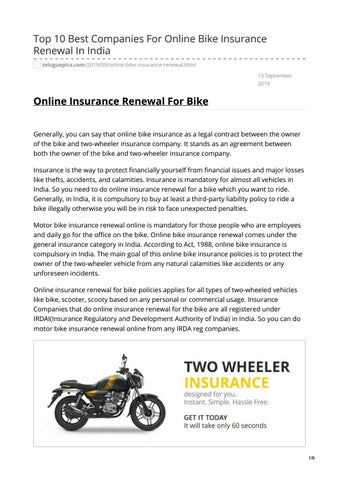 Top 10 Best Companies For Online Bike Insurance Renewal In India By Mohanani88 Issuu