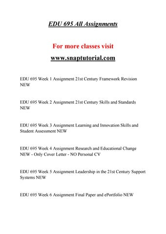 EDU 695 Education Specialist -snaptutorial.com by richards ...