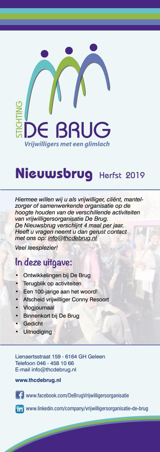 De Brug Nieuwsbrug Herfst 2019 By Stichting De Brug Issuu