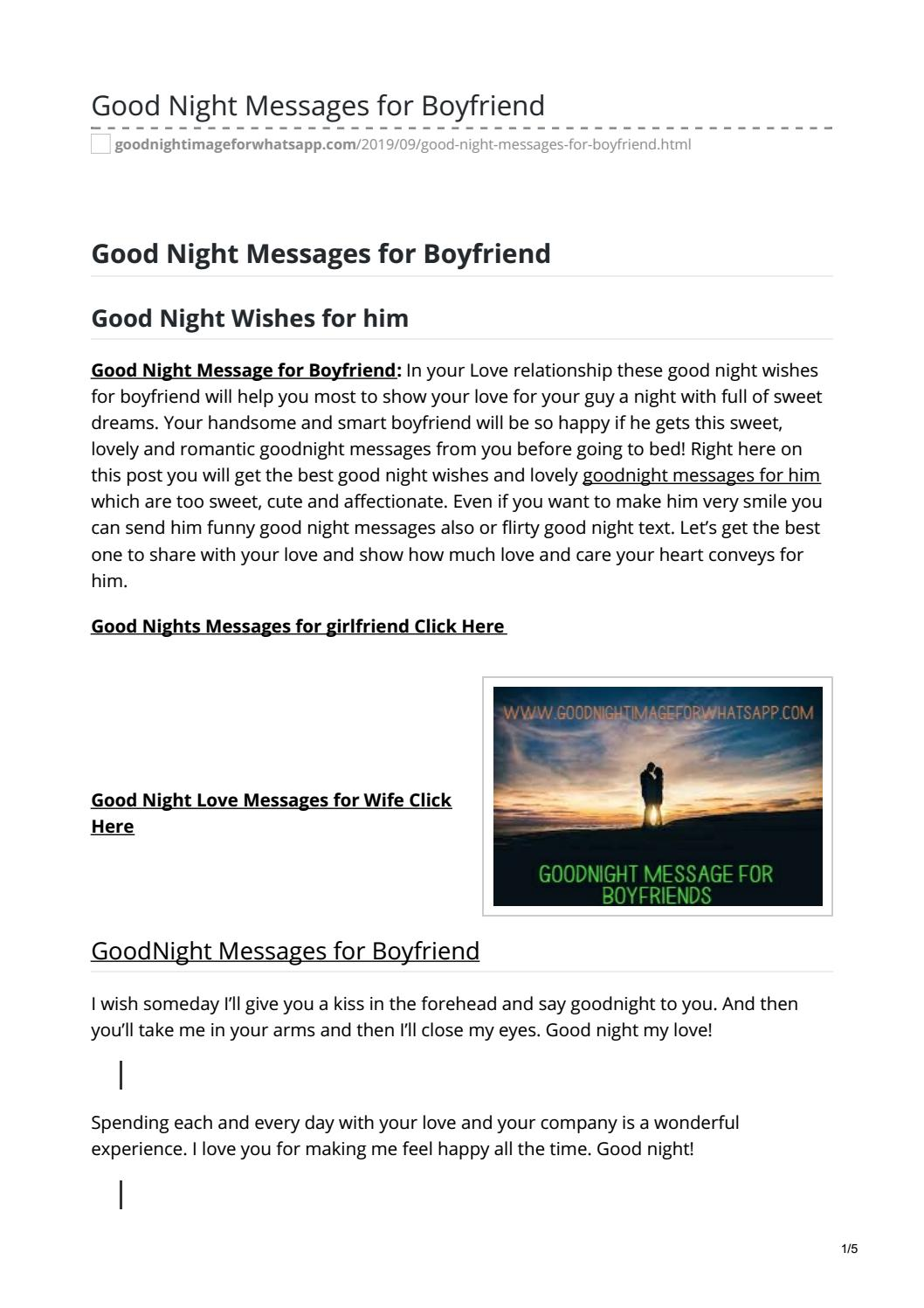 For boyfriend goodnight message 80 Cute