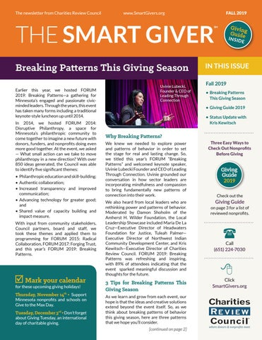 Page 1 of Breaking Patterns this Giving Season