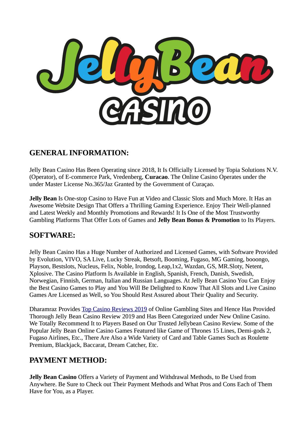 Jelly Bean Casino Review Welcome And Exclusive Bonus Dharamraz
