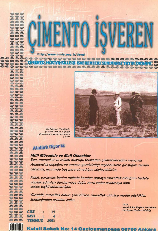 Cimento Isveren Dergisi Temmuz 2001 By Ceis Takvim Issuu