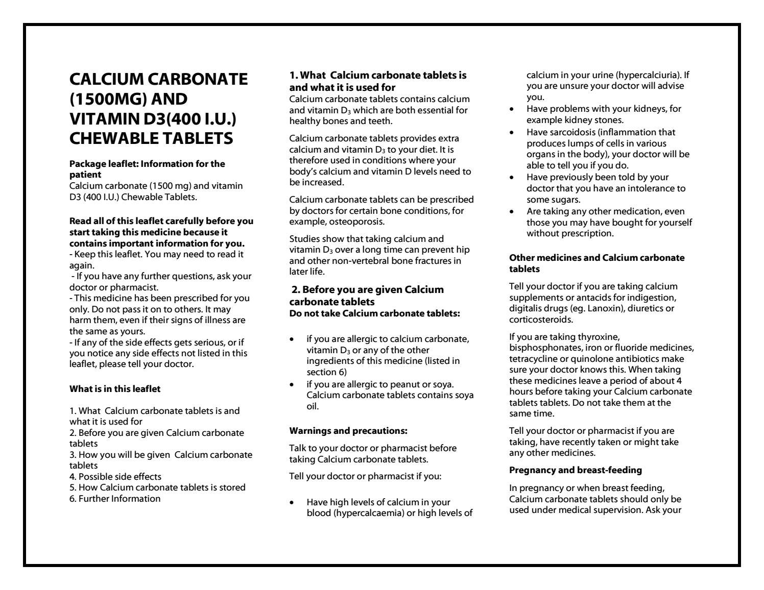 Calcium Carbonate 1500 Mg And Vitamin D3 400 I U Chewable Tablets Taj Pharma By Taj Pharma Issuu