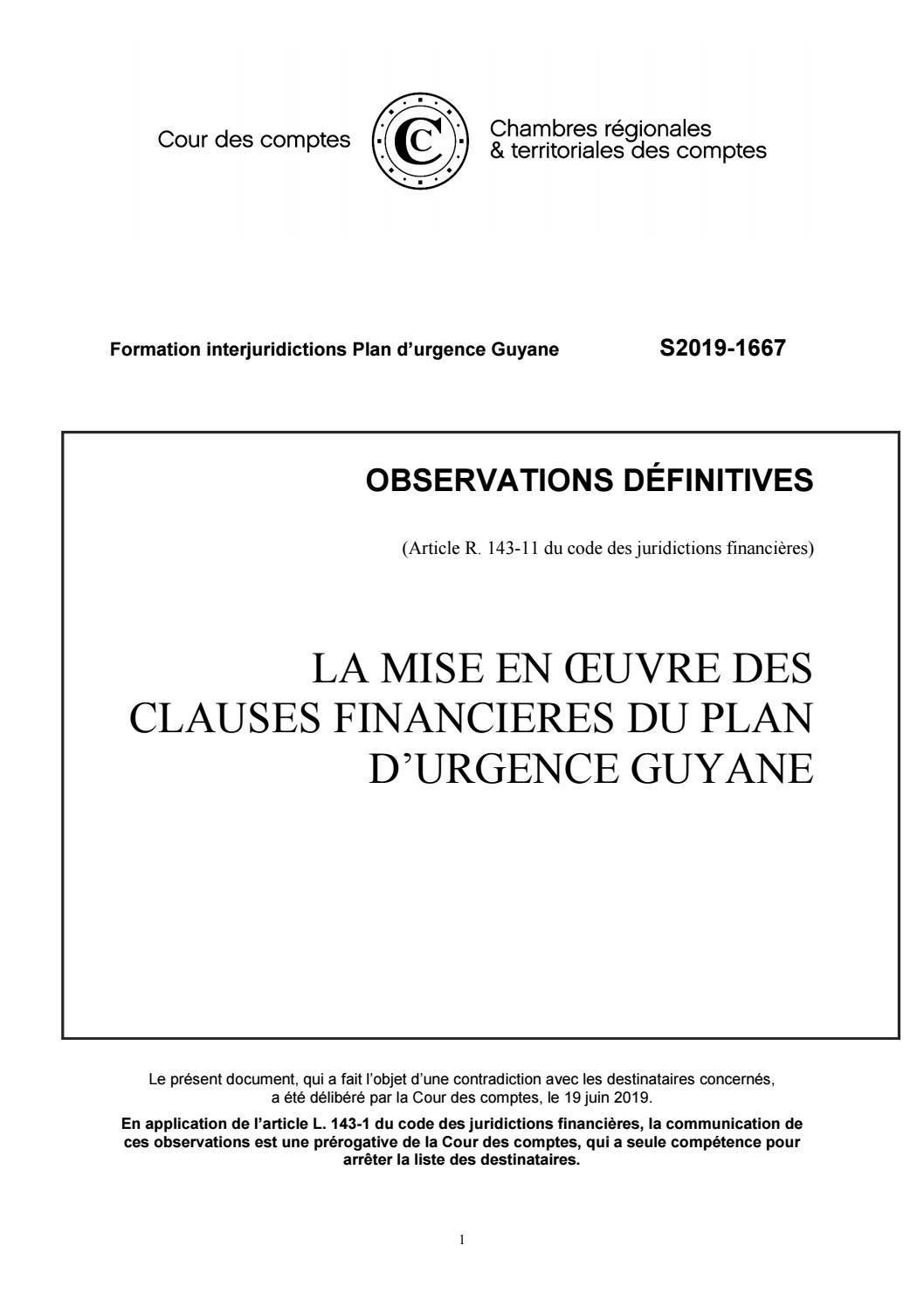 Cour Des Comptes Référé Mise En Oeuvre Des Clauses