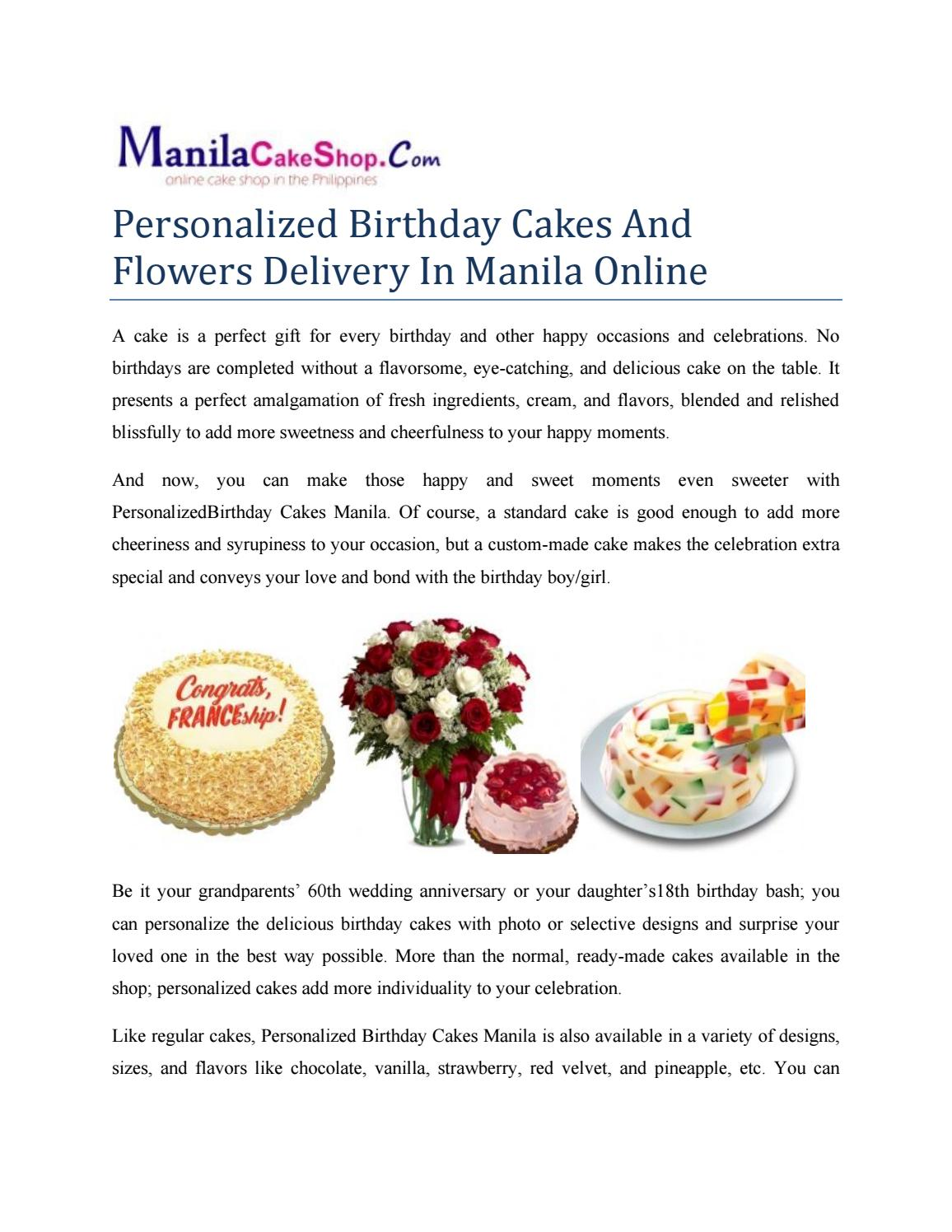 Tremendous Personalized Birthday Cakes And Flowers Delivery In Manila Online Personalised Birthday Cards Veneteletsinfo