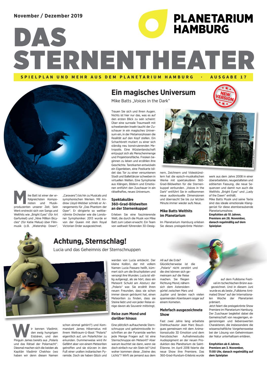 Programm Planetarium Hh November Dezember 2019 By Planetarium Hamburg Issuu