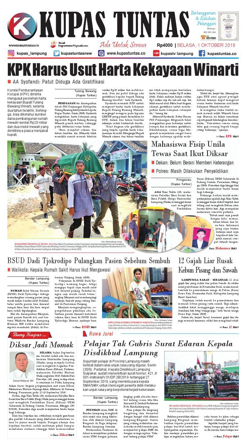 Surat Kabar Harian Kupas Tuntas Edisi Selasa 01 Oktober