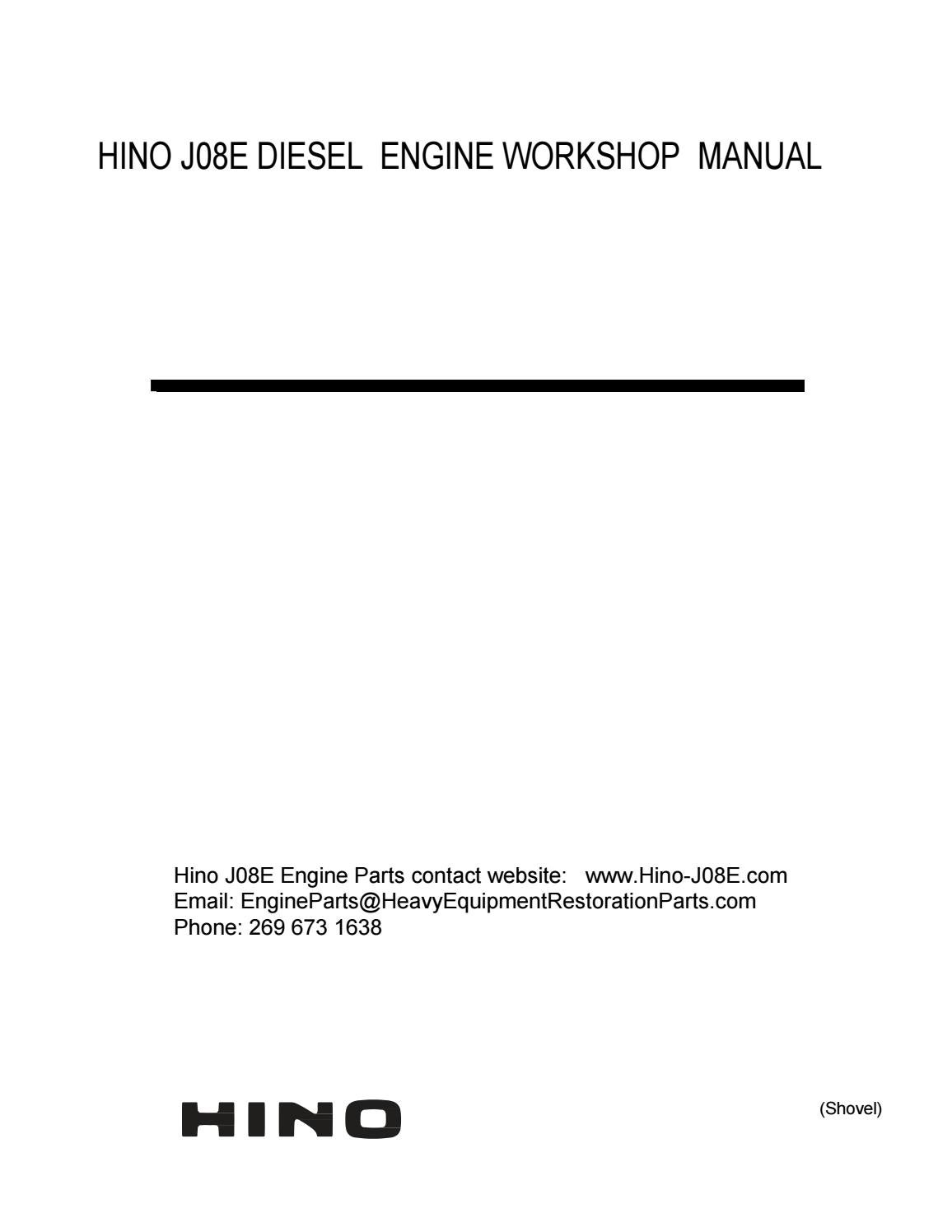 Hino J08e Engine Workshop Manual Free Download By Engineparts2 Issuu