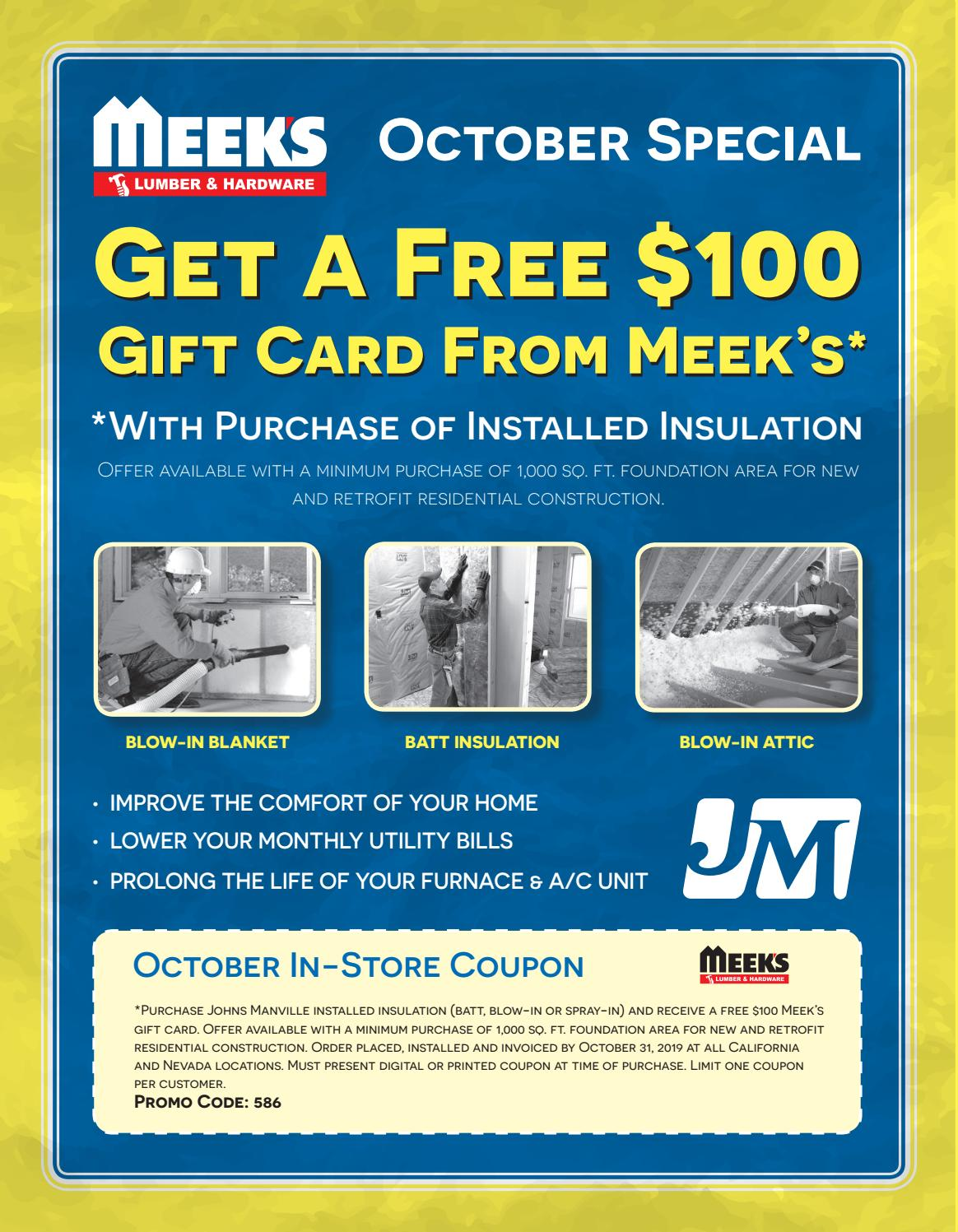 Monthly Special Johns Manville October 2019 By Meek S Lumber
