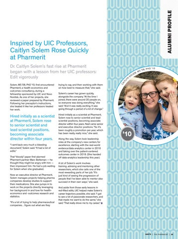 Page 31 of Inspired by UIC Professors, Caitlyn Solem Rose Quickly at Pharmerit