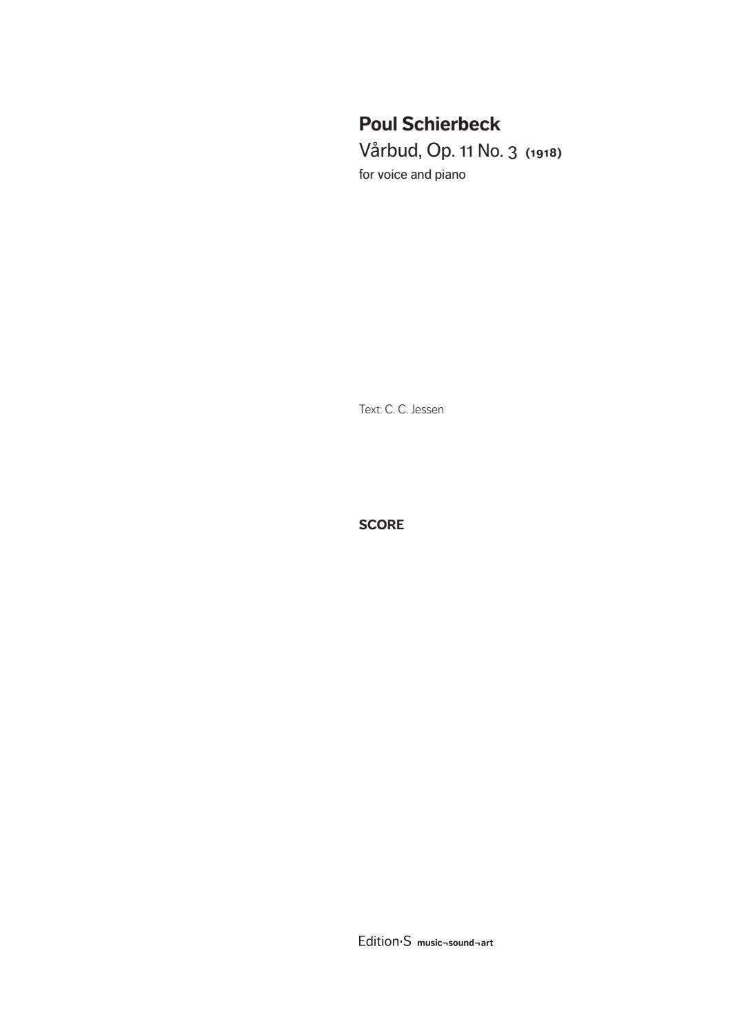 Poul Schierbeck: Vårbud by Edition·S – music¬sound¬art - issuu