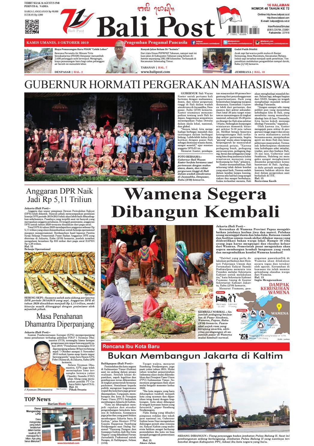 Edisi Kamis 3 Oktober 2019 Balipost Com By E Paper Kmb Issuu