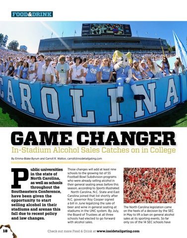 Page 18 of GAME CHANGER: In-Stadium Alcohol Sales Catches on in College