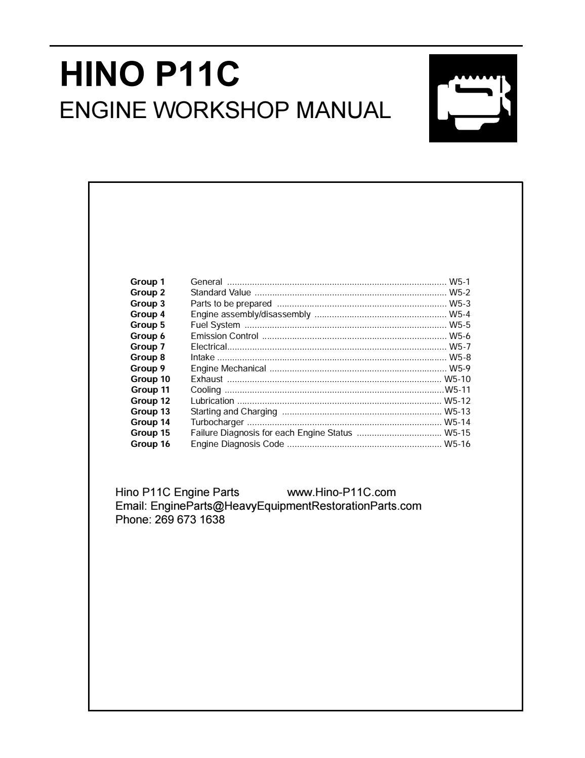 Hino P11c Engine Workshop Manual By Engineparts2 Issuu