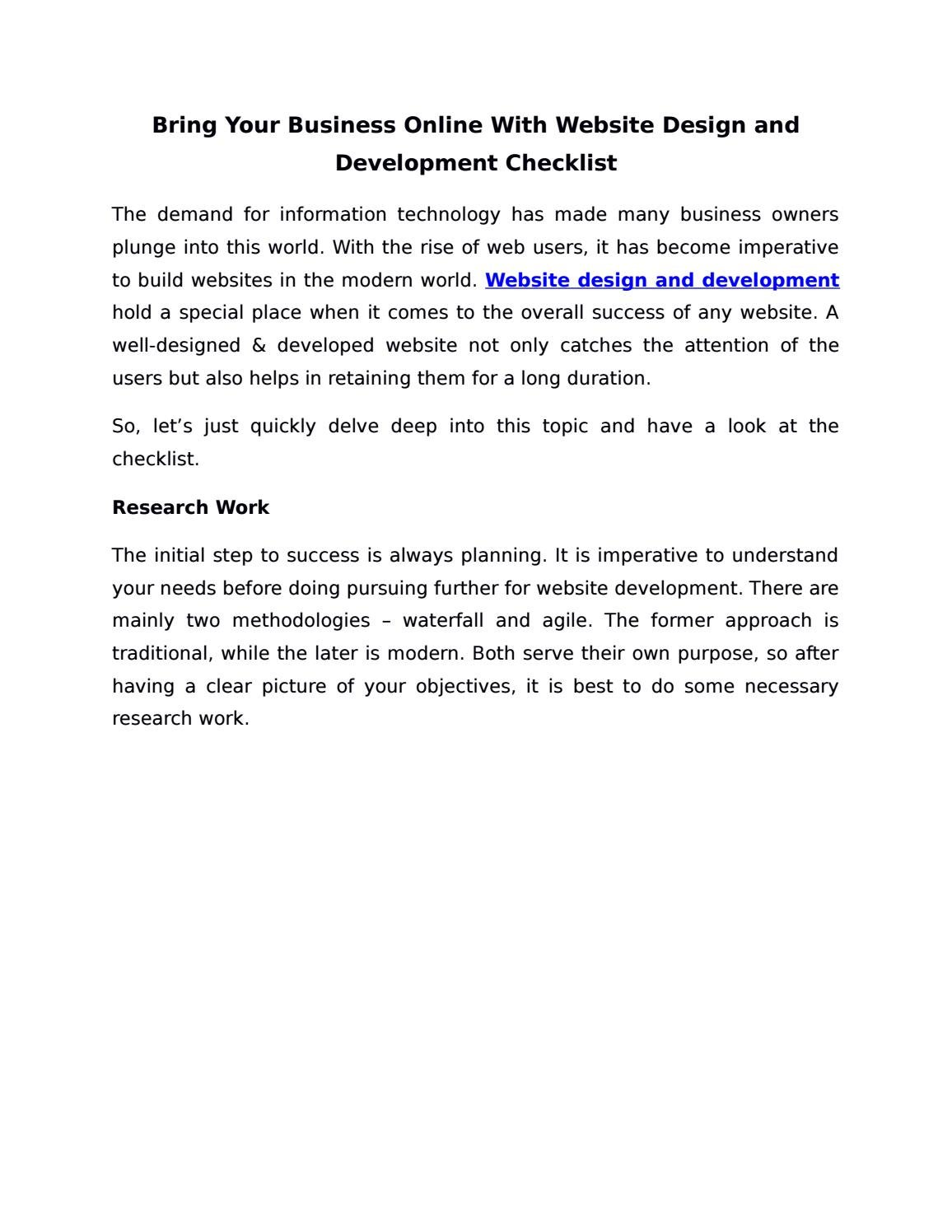 Bring Your Business Online With Website Design and Development Checklist