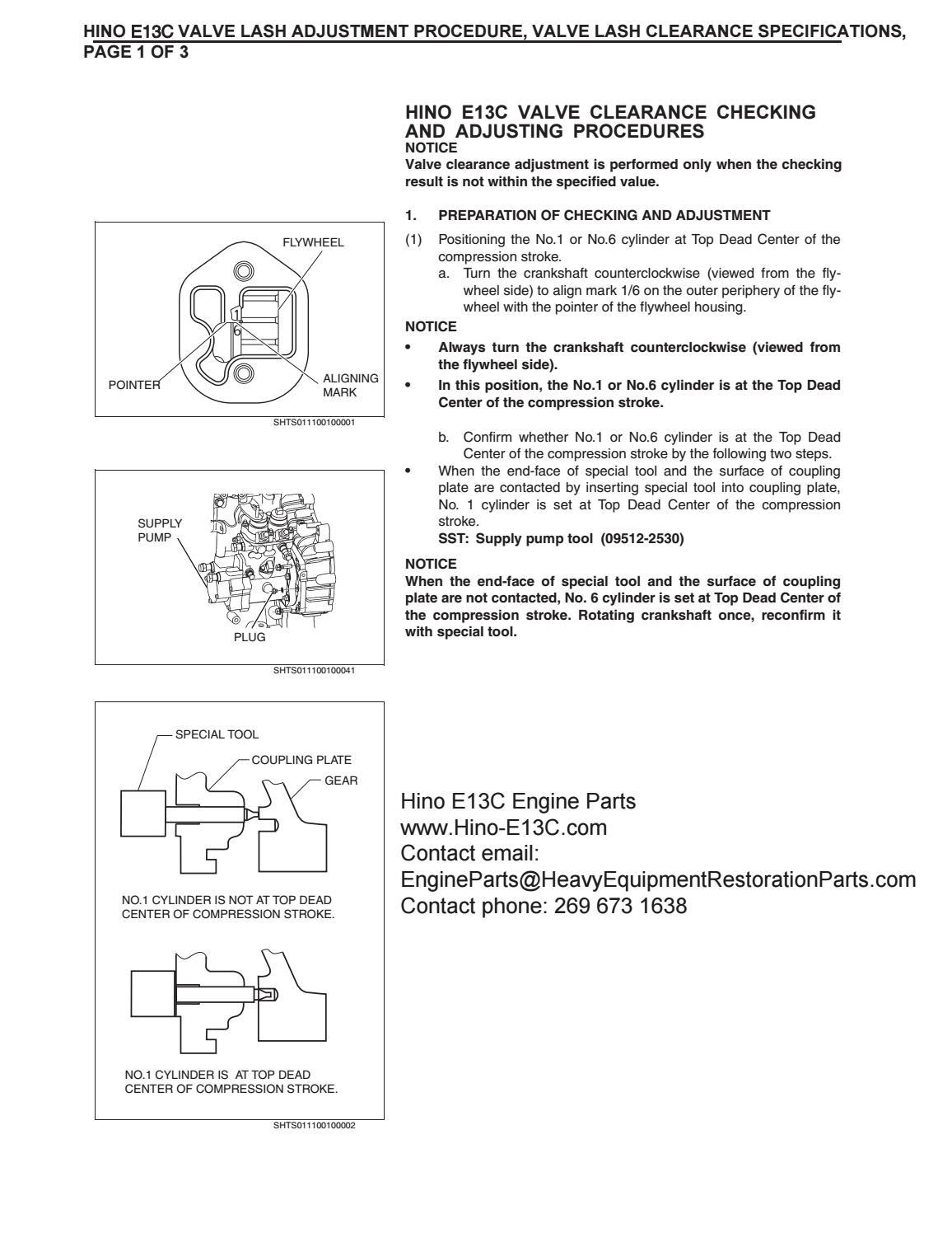 Hino E13C Valve Adjustment Procedure, Valve Lash Clearance