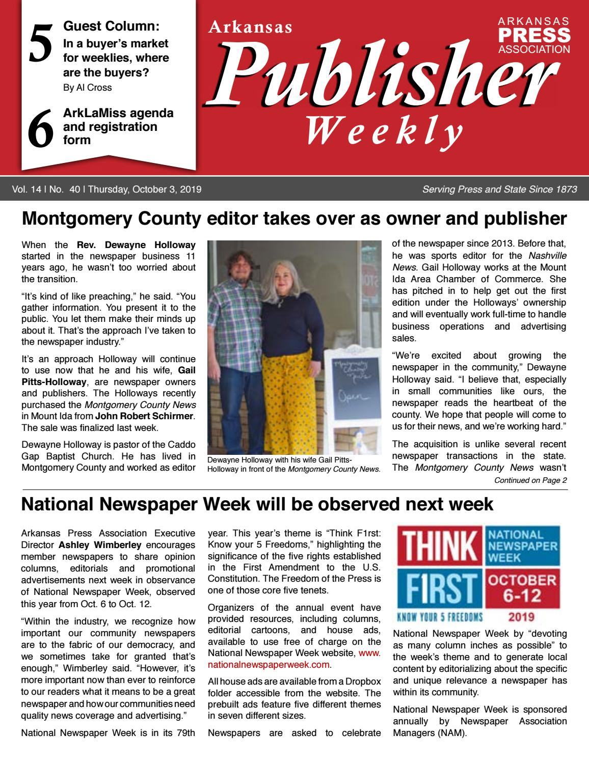 Arkansas Publisher Weekly October 3 2019 By Arkansas Press