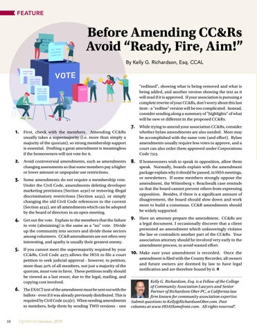 "Page 18 of Before Amending CC&Rs  Avoid ""Ready, Fire, Aim!"""