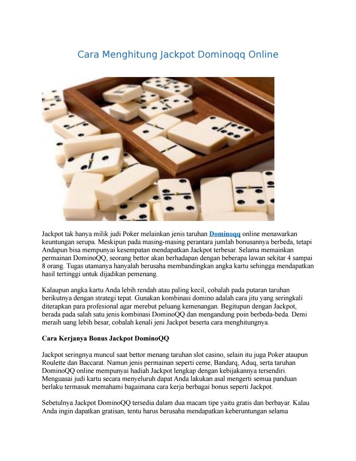 Cara Menghitung Jackpot Dominoqq Online By Vivitan Issuu
