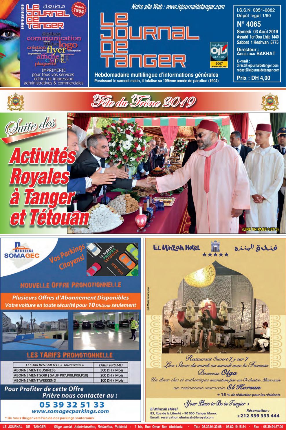 Le Journal De Tanger 03 Août 2019 By Le Journal De Tanger