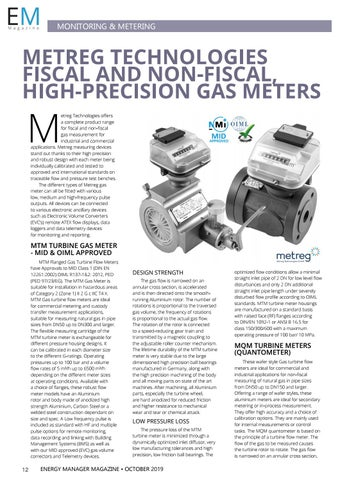 Page 12 of Metreg Technologies fiscal and non-fiscal high-precision gas meters