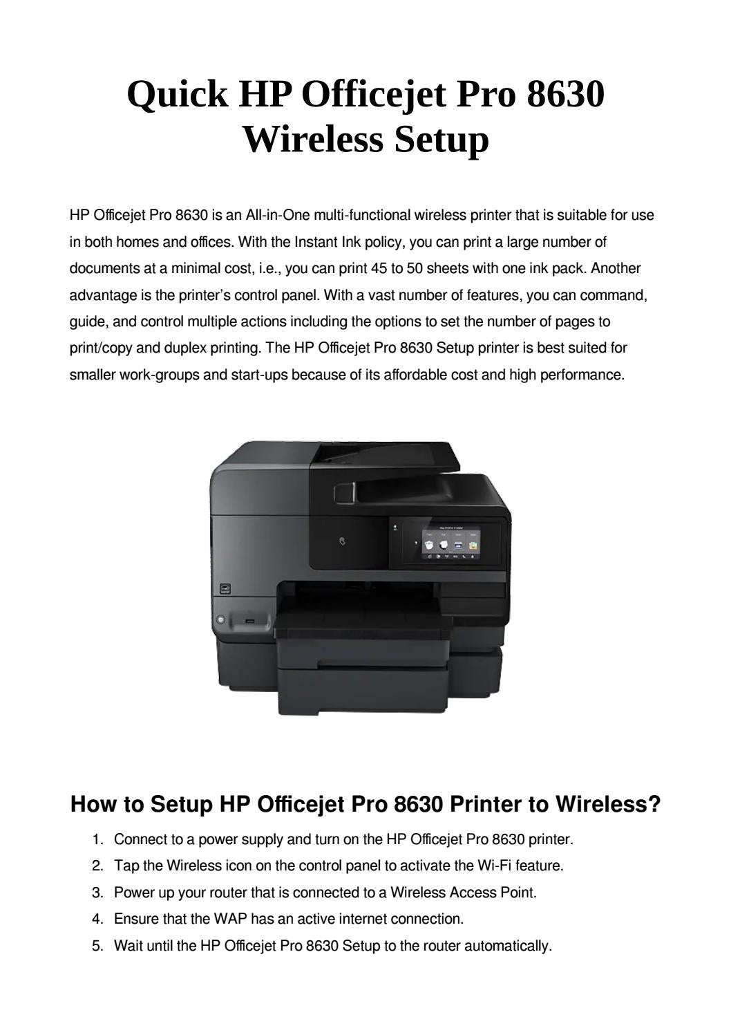 Hp Officejet Pro 8630 Setup Quick Wireless Connection By Sandra Carol Issuu