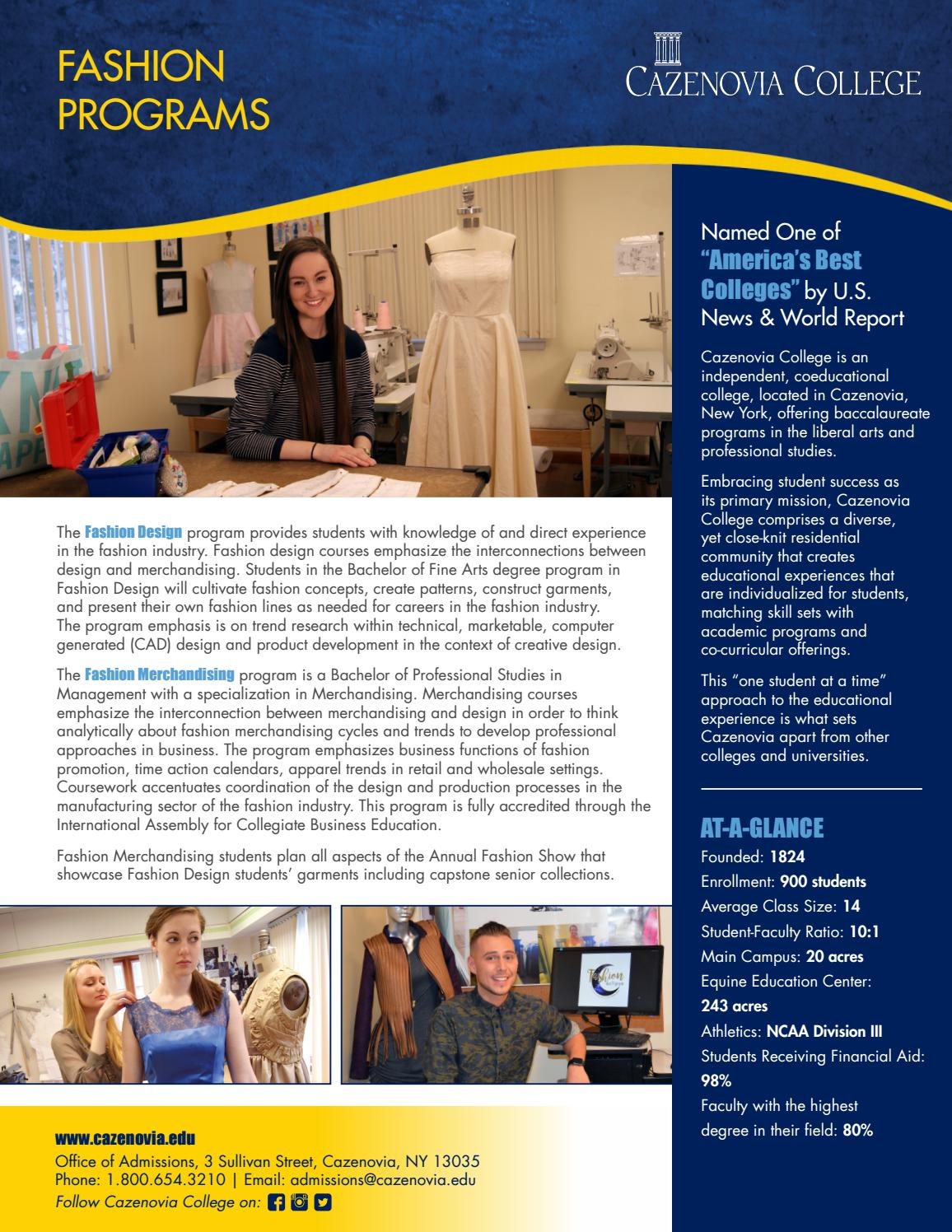 Fashion Programs Brochure By Cazenovia College Issuu