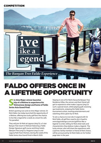 Page 14 of FALDO OFFERS ONCE IN A LIFETIME OPPORTUNITY