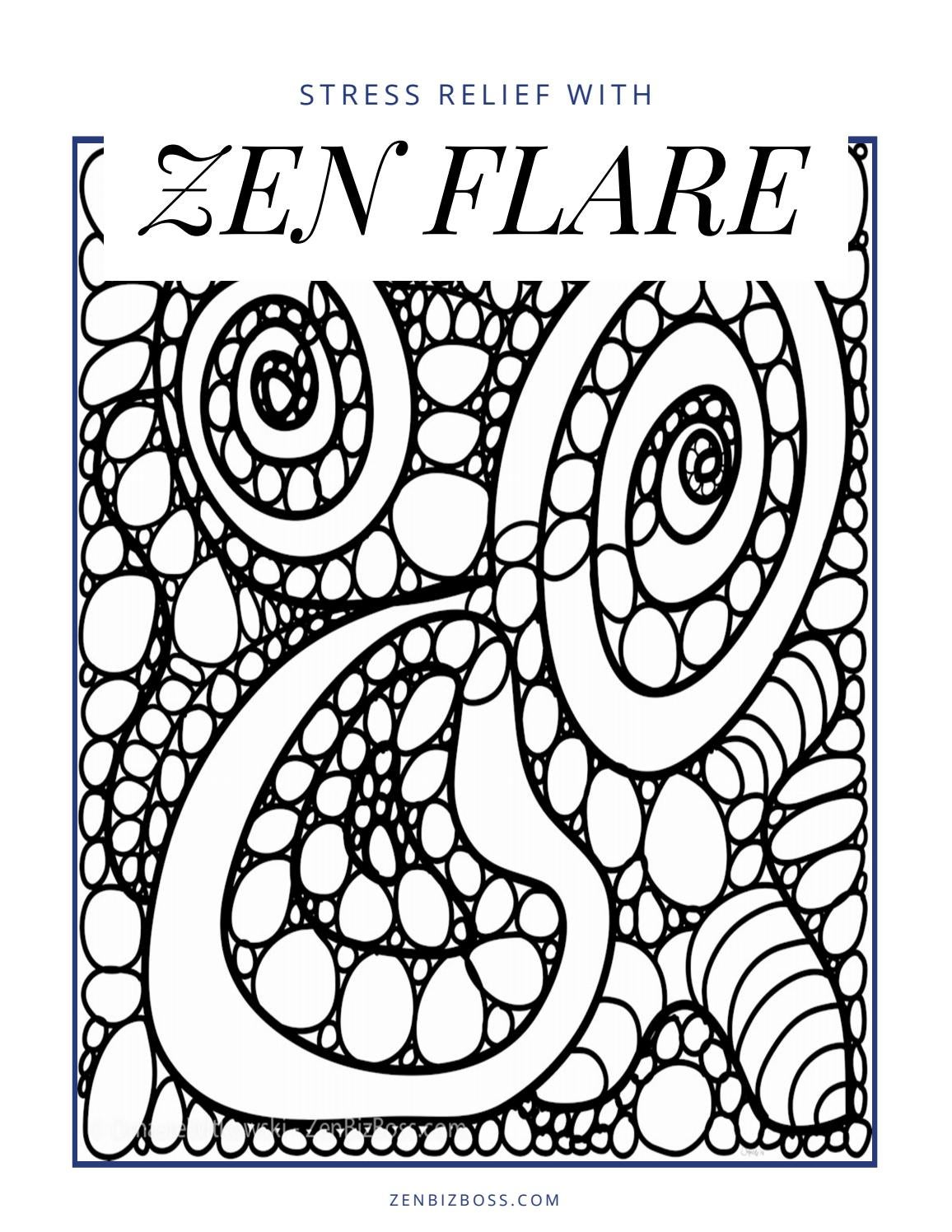 - Stress Relief With Zen Flare Adult Coloring Book By Zen Biz Boss