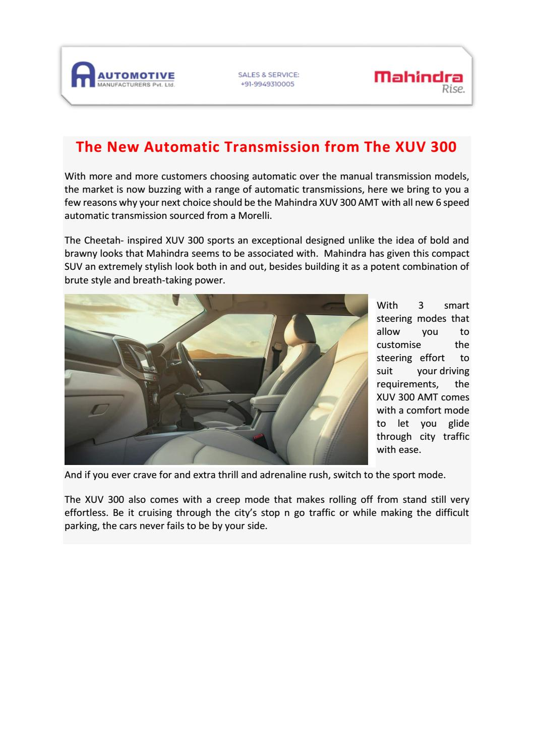 The New Automatic Transmission From The Xuv 300 By Automotivemlmahindra Issuu