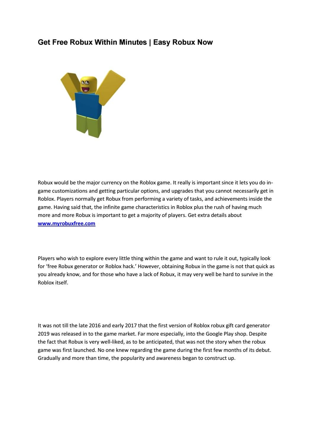 Get Free Robux Within Minutes Easy Robux Now By Leah Fewings Issuu