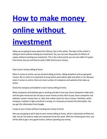 How To Make Money Online Without