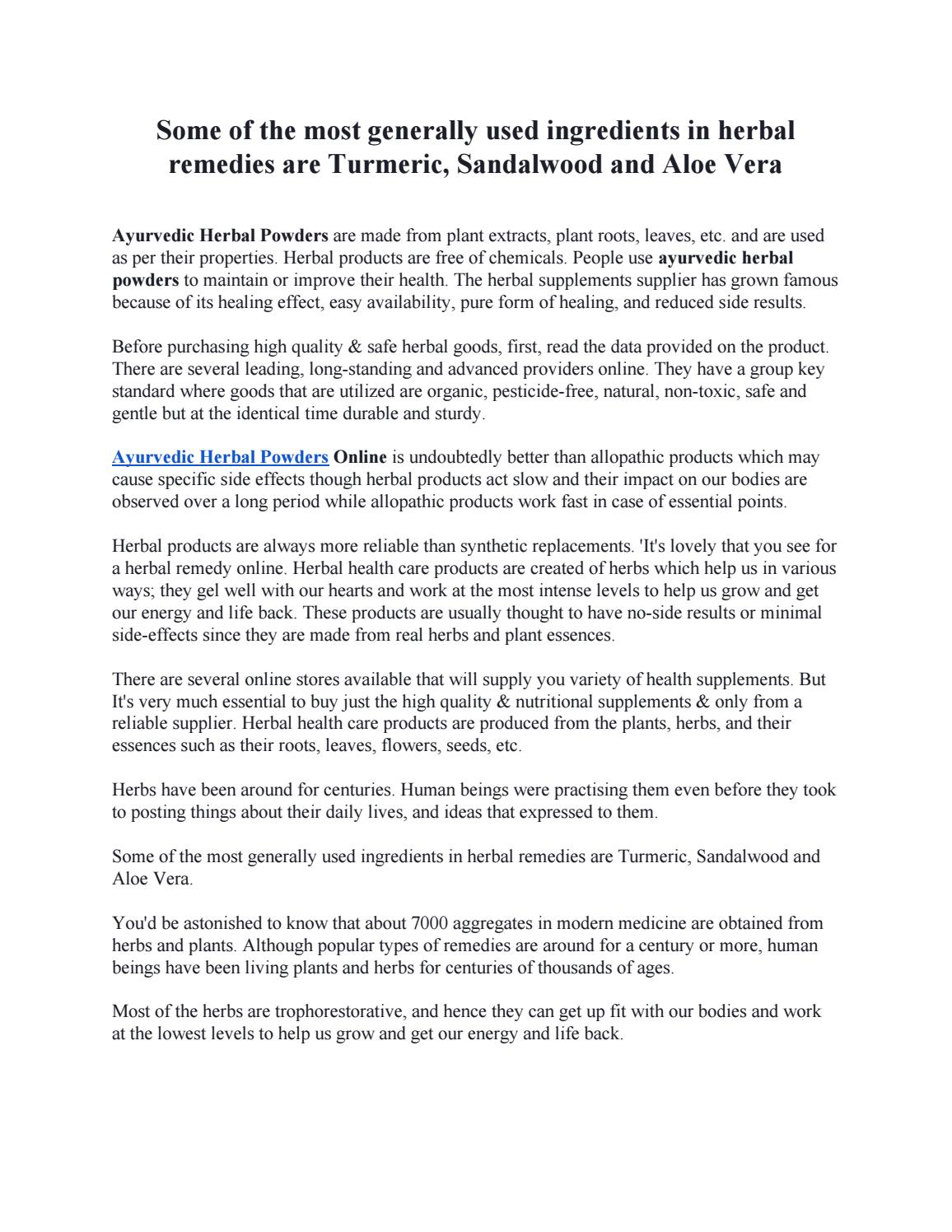Some Of The Most Generally Used Ingredients In Herbal Remedies Are Turmeric Sandalwood And Aloe Ver By Amrita Davis Issuu