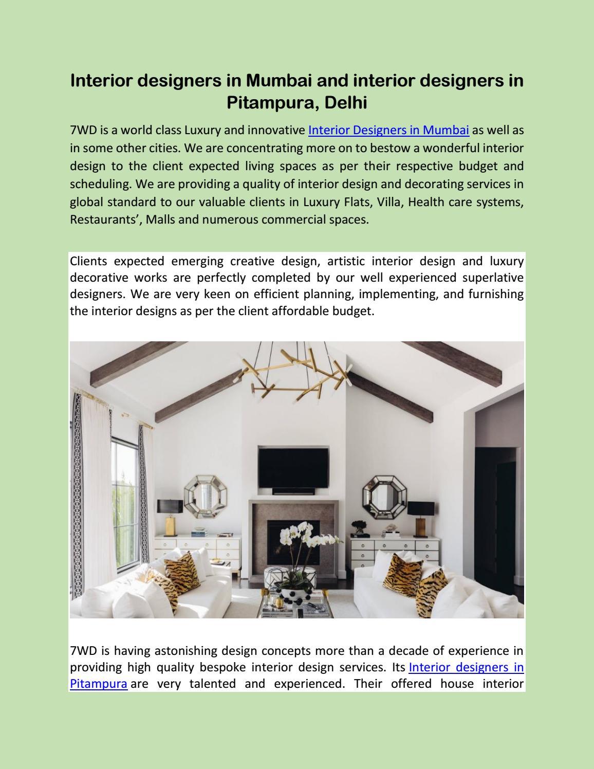 Interior Designers In Mumbai And Interior Designers In Pitampura Delhi By 7wd 7 Wonders Designing Institution Pvt Ltd Issuu