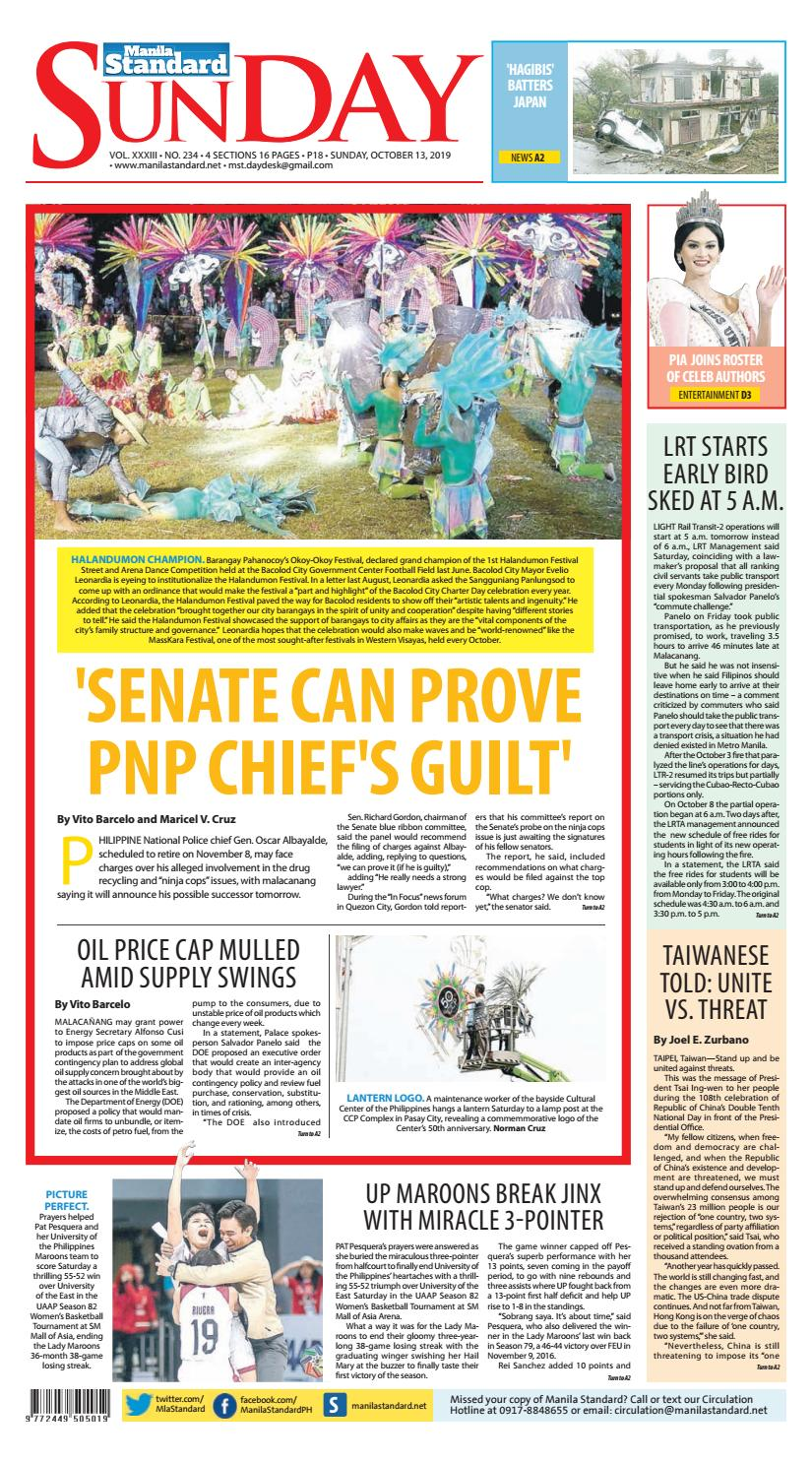 Manila Standard 2019 October 13 Sunday By Manila