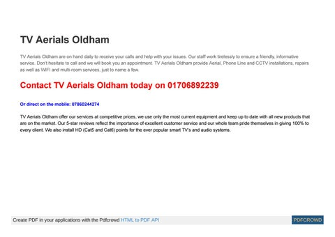 Page 1 of TV Aerial installation services in Oldham
