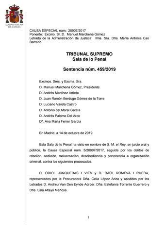 Sentencia Completa De La Resolucion Del Juicio Del Proces Condenas Por Sedicion