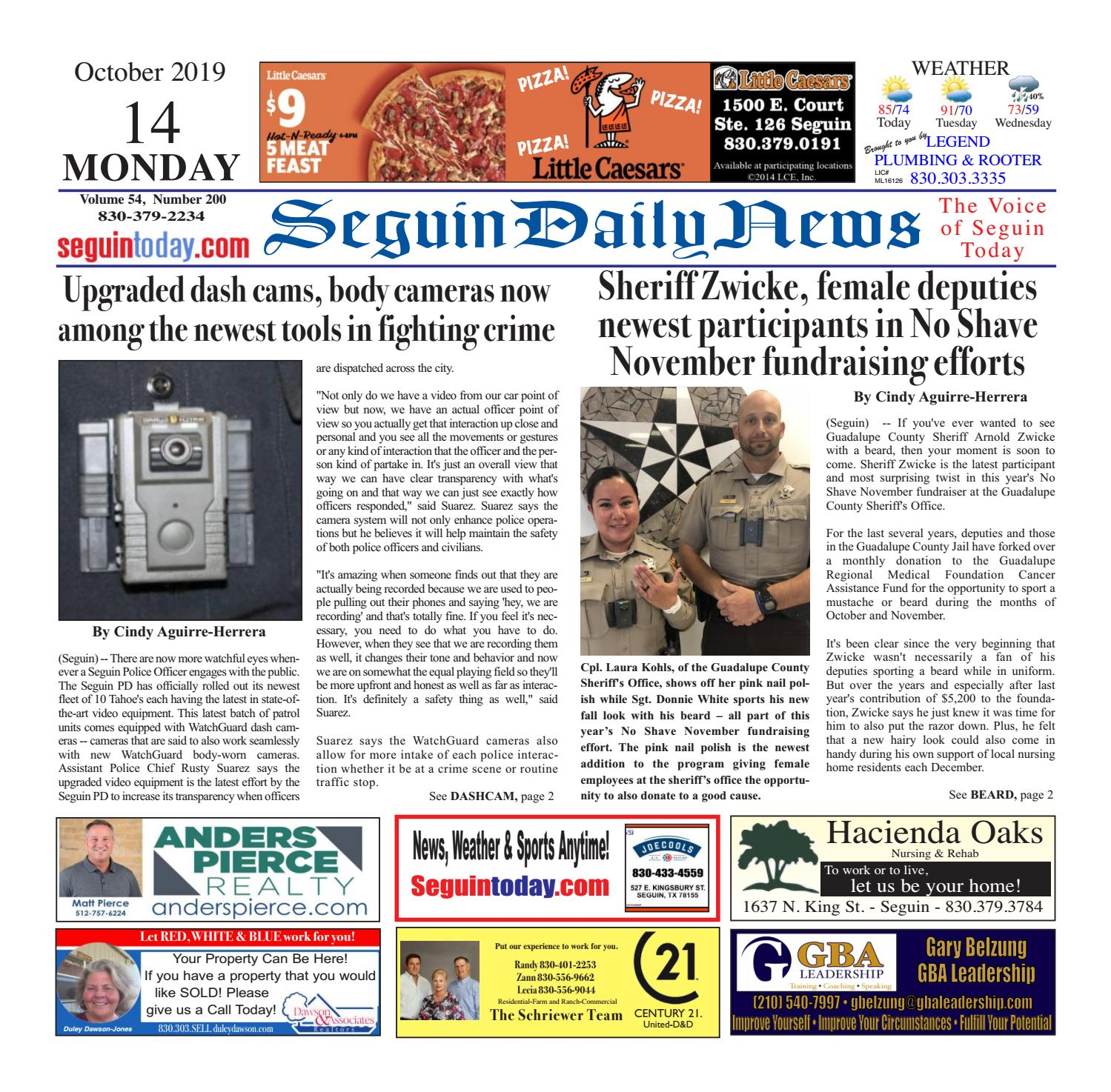 Sdn October 14 2019 By Seguin Daily News Issuu