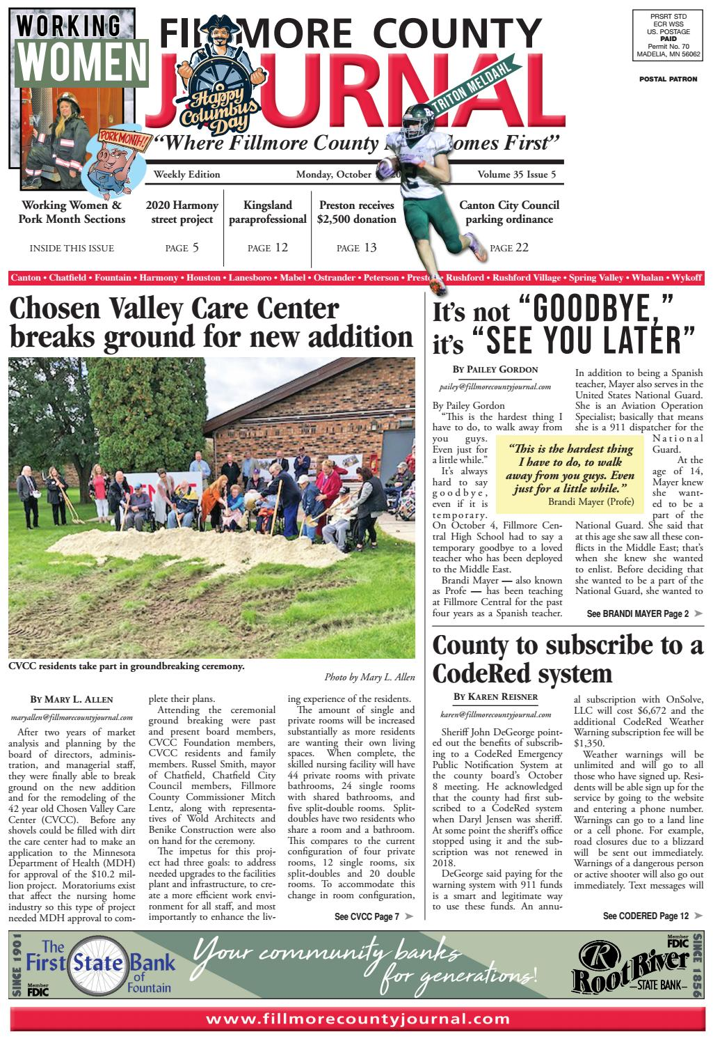 Fillmore County Journal 101419 By Jason Sethre Issuu